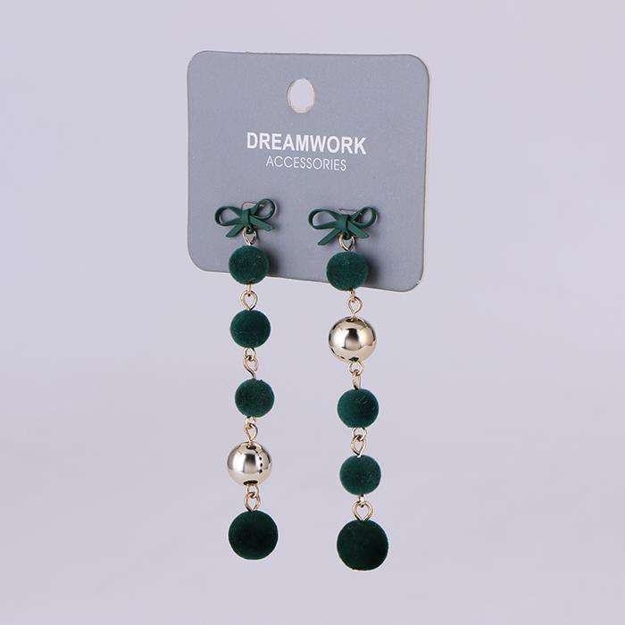 Elegant Bowknot Tassel Long Dangle Earring.JPG