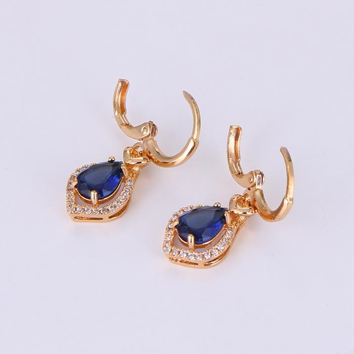 Elegant Blue Zircon Water Drop Dangle Earring.JPG