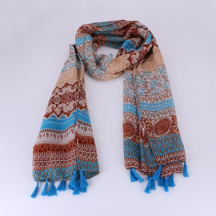 Ethnic Style Voile Cotton Women Thin Long Shawl Scarf.JPG