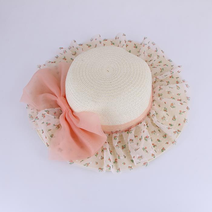 Children's bud silk screen yarn bow lace fashion visor hat.JPG