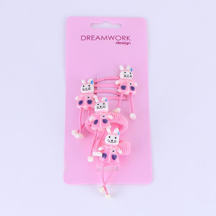 Cute cartoon long-legged rabbit BB clip hair rope set.JPG