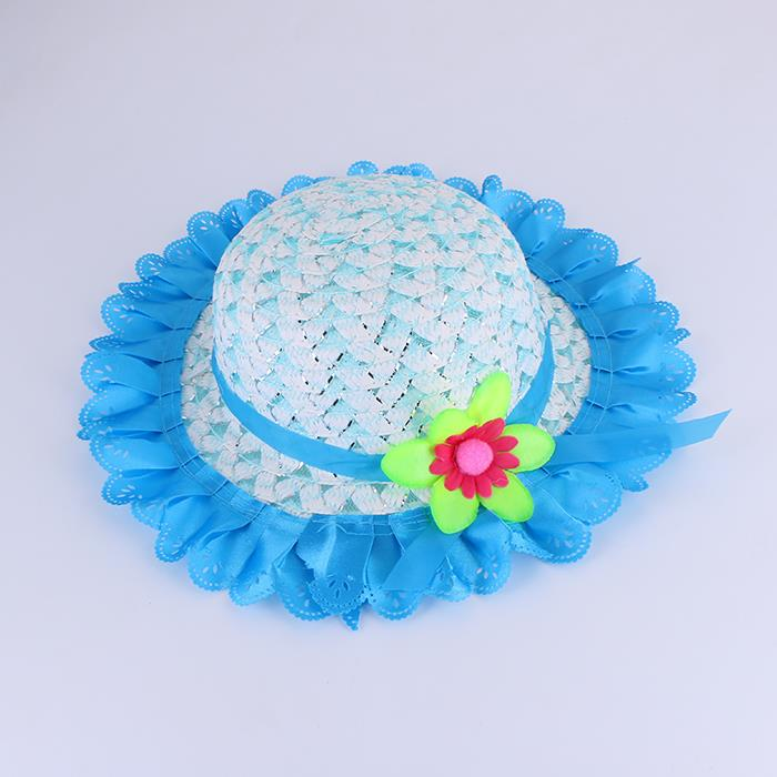 Summer Flower Striped Straw Woven Kids Hat Outdoor Cap.JPG
