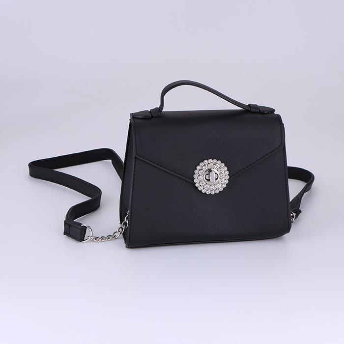 Classic Black Messenger Bag Flap Leather Shoulder Bag .JPG