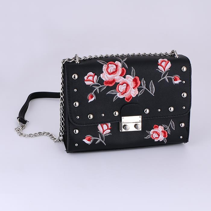 Embroidery Flower Flap Bags Rivet PU Leather Shoulder Bags.JPG