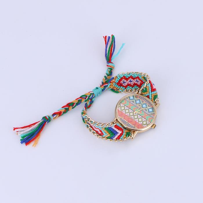 Bohemian sweet hand-woven tassel wide edition bracelet watch.JPG