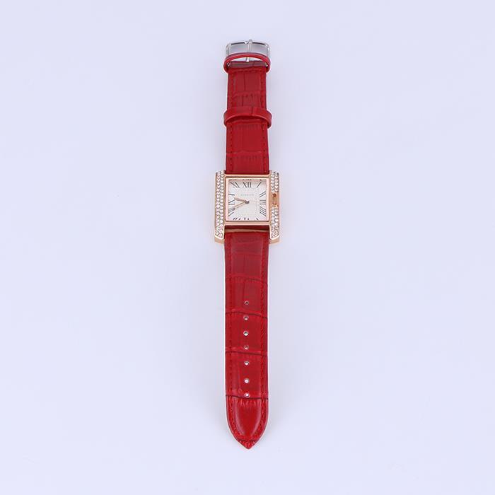 Fashion rhinestone square leather watch ladies quartz watch.JPG