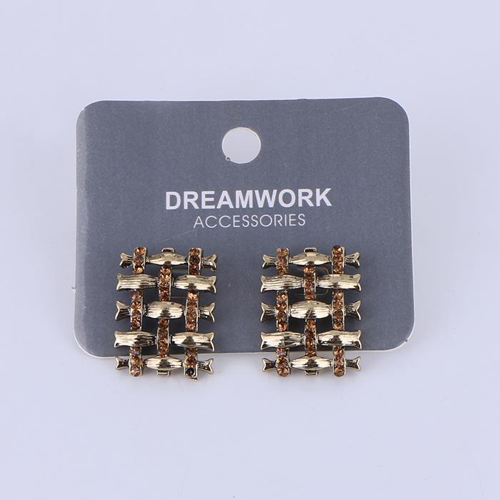 Luxury Rhinestone Woven Square Stud Earring.JPG