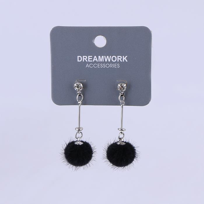 Cute Artificial Mink Hair Ball Dangle Earring .JPG
