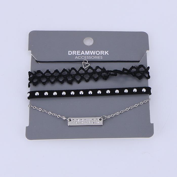 4PCS/Set Punk Geometric Lace Chain Bracelet.JPG