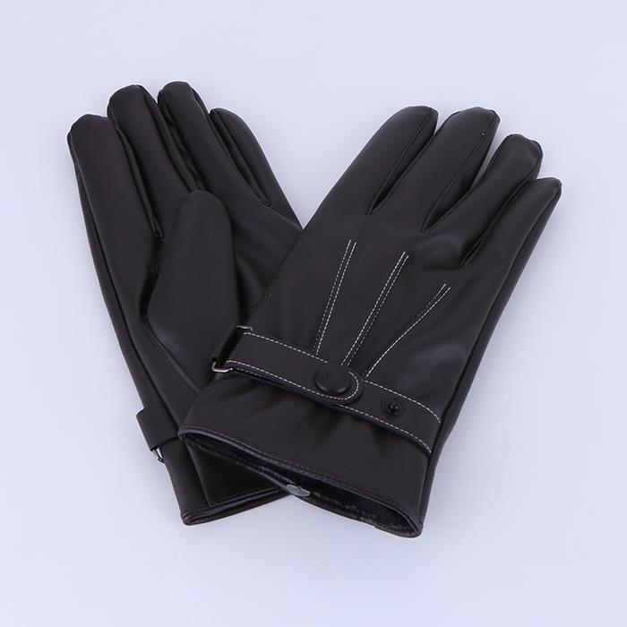 Classic Winter Leather Brown Warm Gloves.JPG