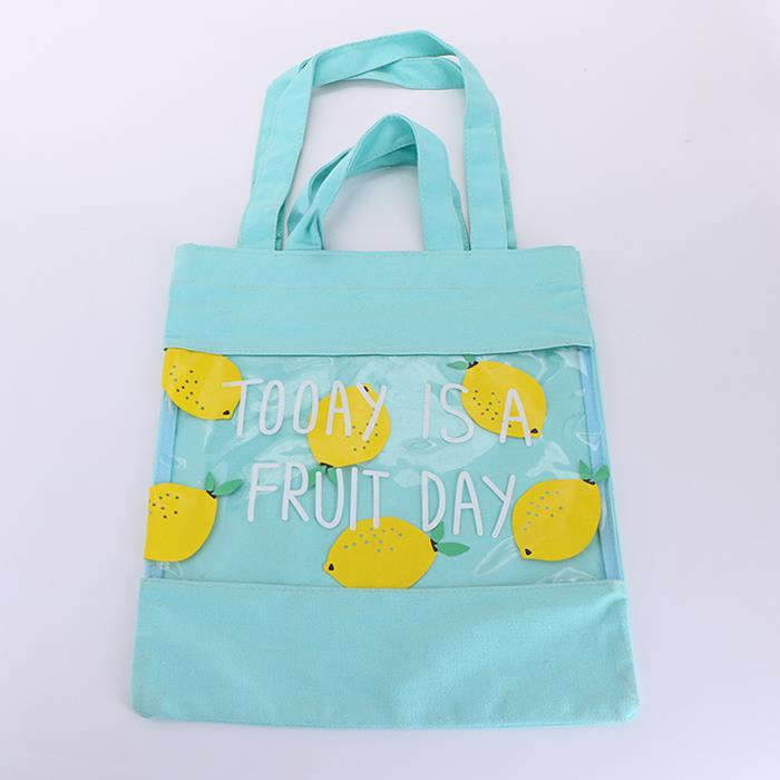 Transparent Stitching Fruit Print Canvas Shopping Bag Shoulder Bag .jpg