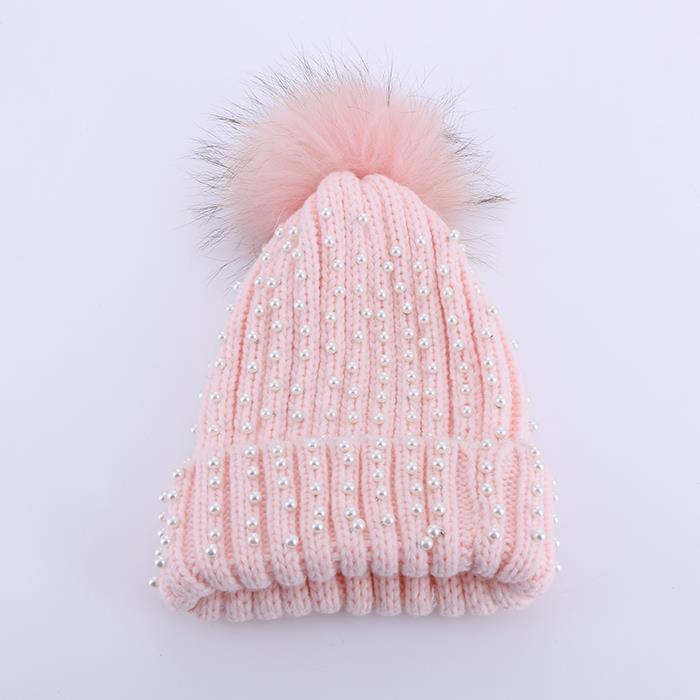 Wild earmuffs pearl fluffy ball warm wool knit hat.JPG