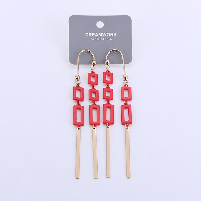 Punk Geometric Metal Tassel Long Dangle Earring.JPG