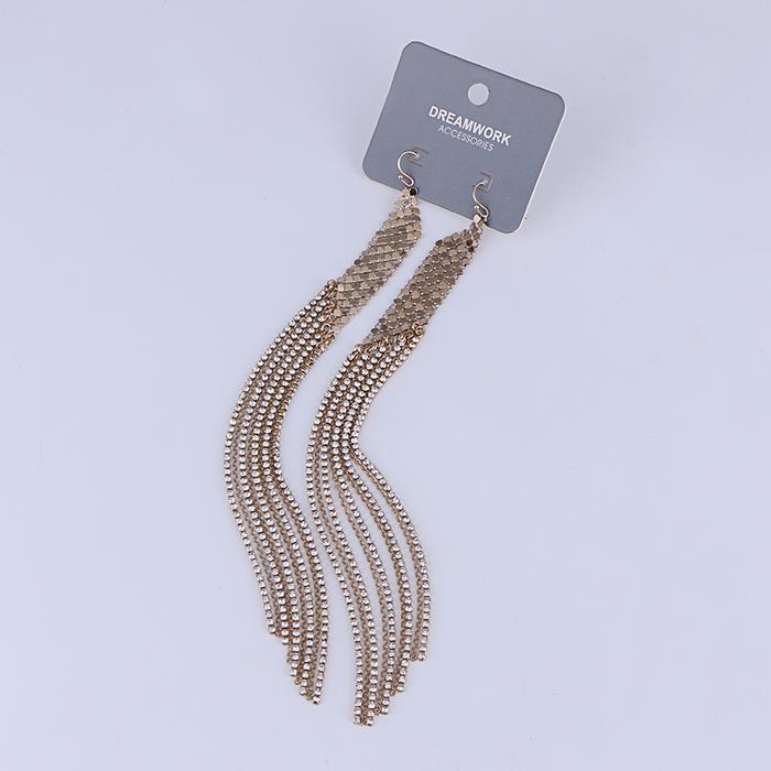 Exaggerated long mesh tassel earrings.JPG