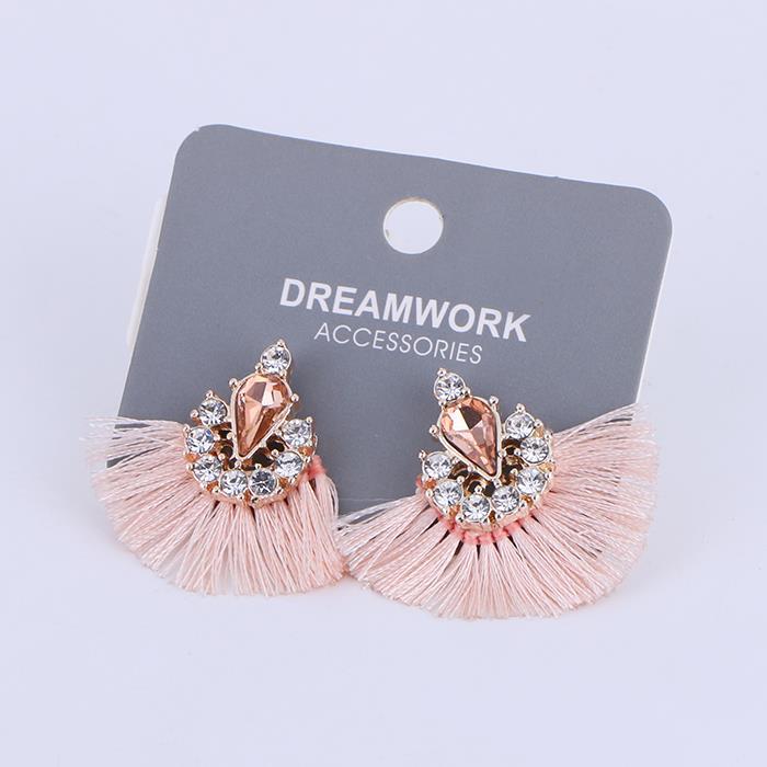 Line fan fan fringed sweet shiny gemstone hollow earrings.JPG