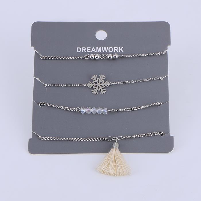 4pcs/Set Charm Snowflake Bead Tassel Bracelet Set.JPG