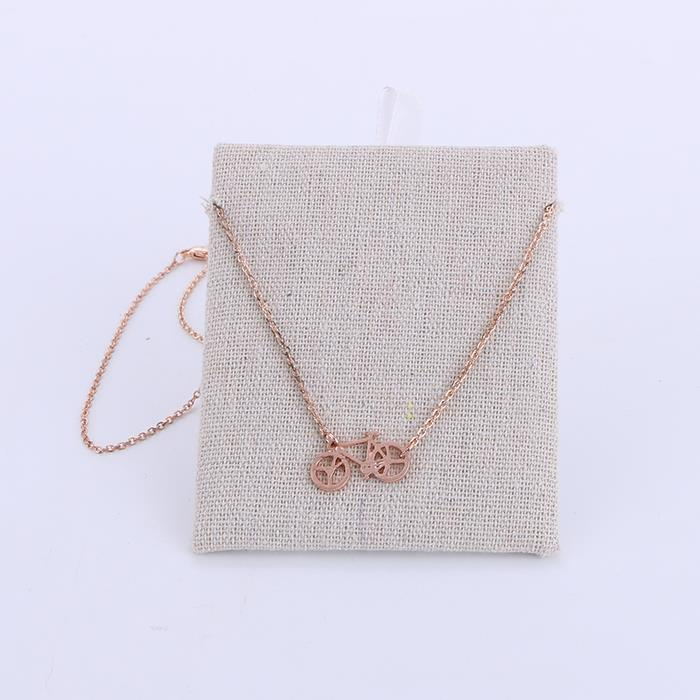 Fashion simple bicycle pendant rose gold necklace.JPG