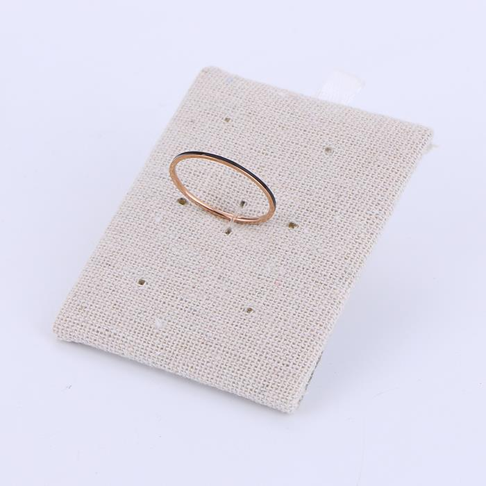 Fashion wild rose gold black round stainless steel ring.JPG