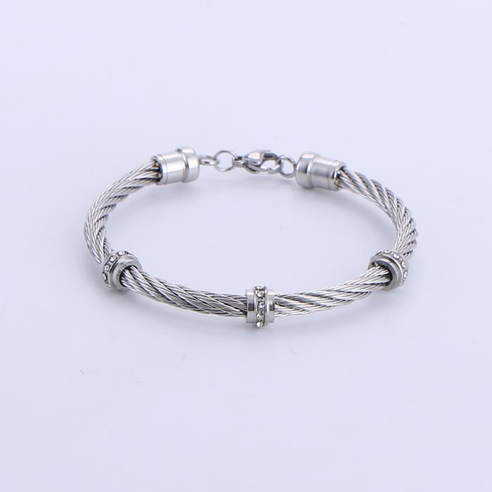Fashion steel cable twist shape diamond bracelet.JPG
