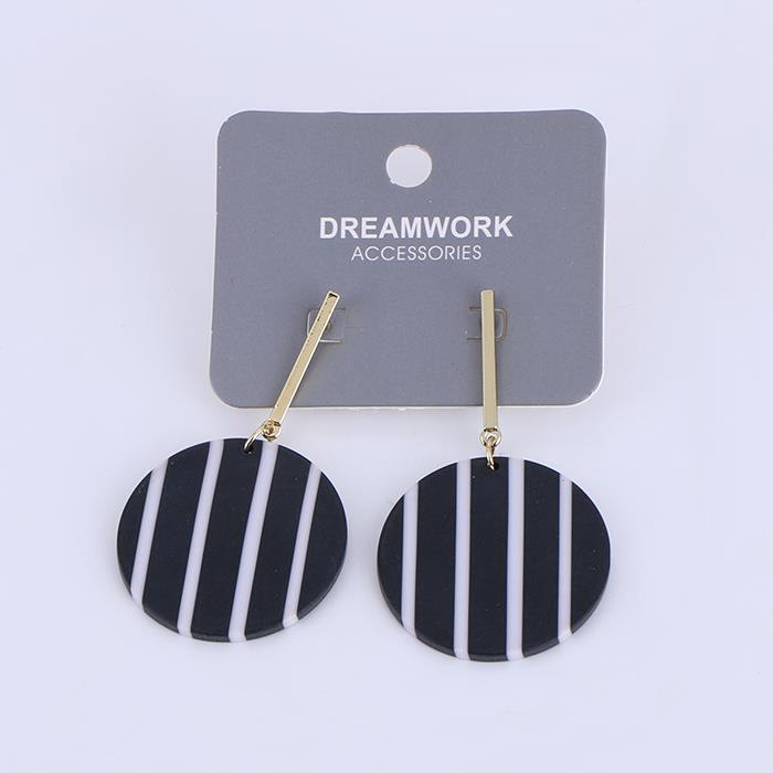 Elegant Scrub Black Striped Acrylic Earrings.JPG