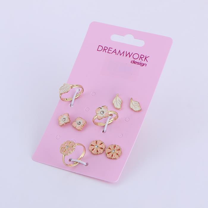 Trendy Flower Leaf Ring Earring Set.JPG