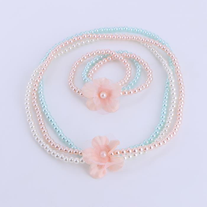 Cute Child Pearl Flower Necklace Bracelet Set .JPG