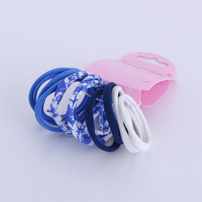10 Pcs/set elegant blue and white porcelain color seamless hair circle.JPG