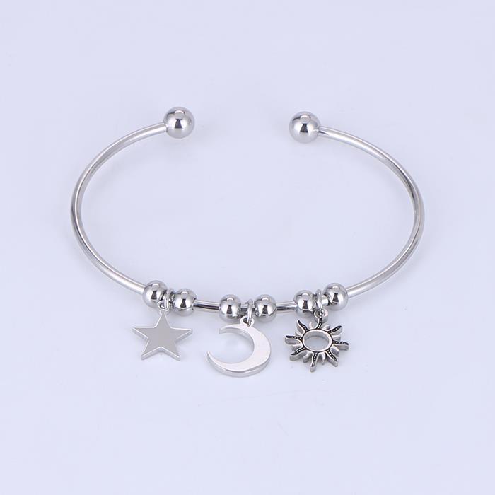 Stainless Steel Charm Open Cuff Star Moon Bangle Bracelet.JPG
