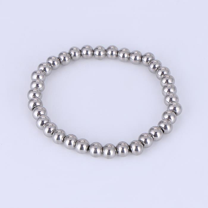 Simply 5mm Stainless Steel Bead Handmade Bracelet.JPG