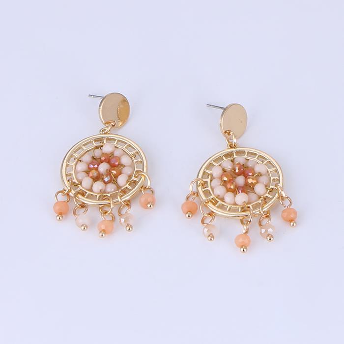 Hollow glass beads tassel earrings.JPG