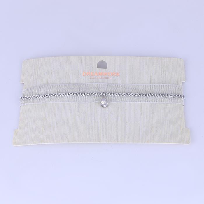 Elegant Yarn Zircon Pendant Choker Necklace.JPG