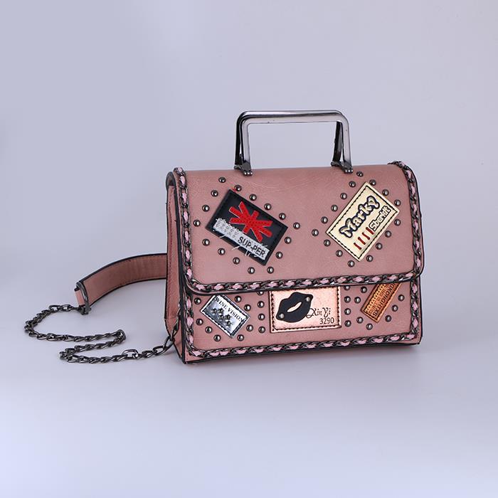 Fashion wild rivet chain portable shoulder bag.jpg