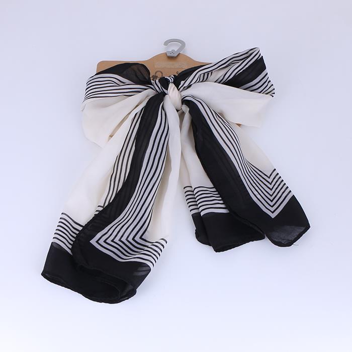 Women's black and white chiffon scarf.jpg