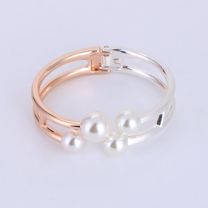 Fashion personality two-color opening large pearl bracelet.JPG