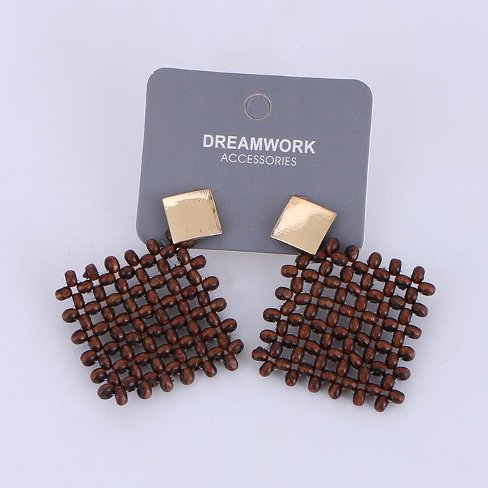 Fashion wooden beads braided geometric earrings.JPG