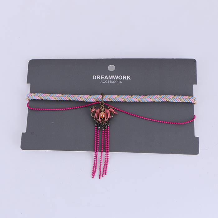 Ethnic Hand Weave Bead Tassel Choker Necklace.JPG