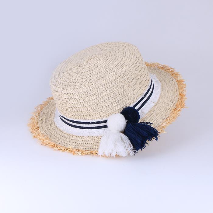 Striped edge hair ball fringed grass weaving holiday sun hat.JPG