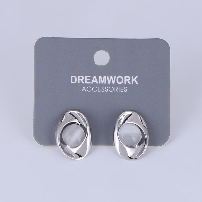 Women's white cat eye stud earrings.JPG