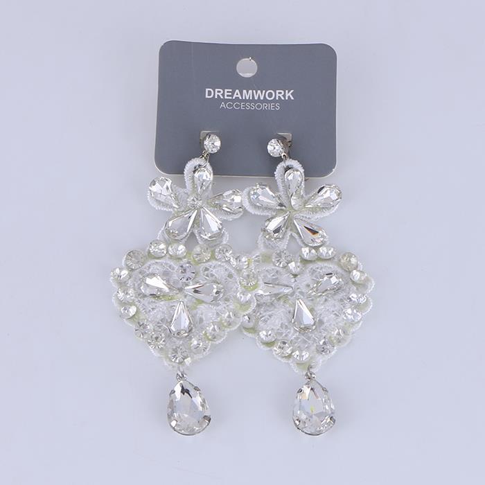 Elegant Crystal Flower Lace Ear Clip Earring.JPG