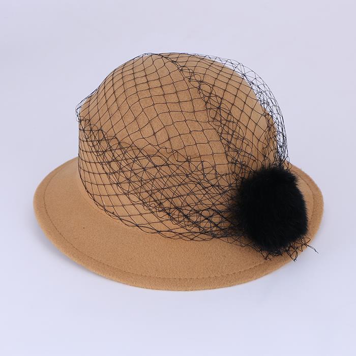 Autumn Winter Wool Hat Lace Hat Dome British Retro Top hat.JPG