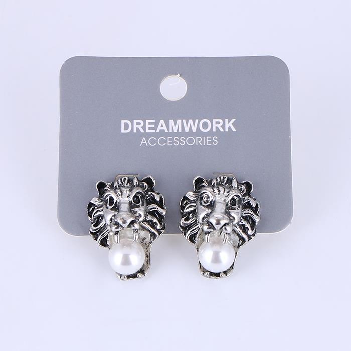 Fashion domineering lion head pearl earrings.JPG