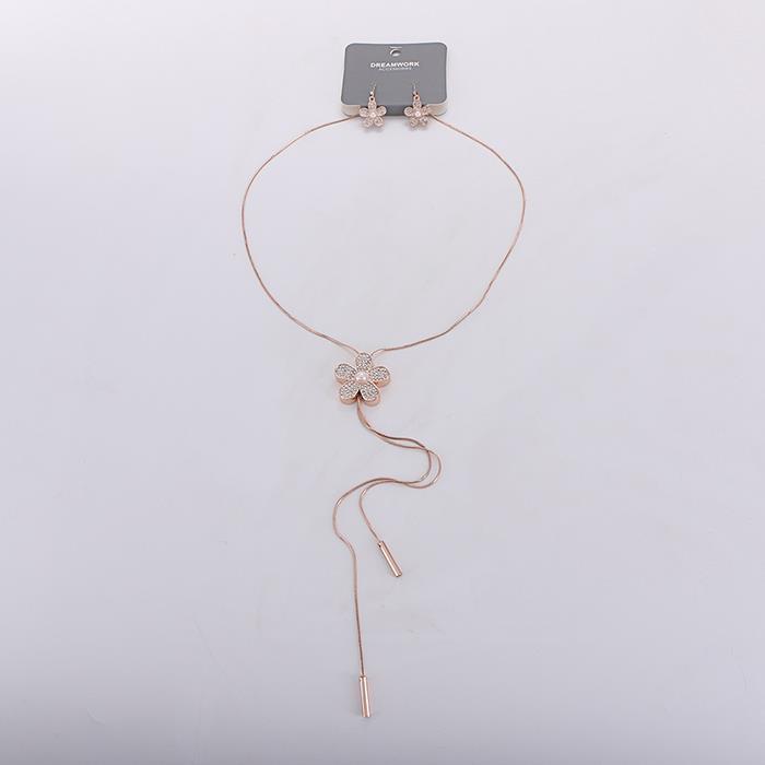 Simple wild rose gold flower earrings necklace set.jpg