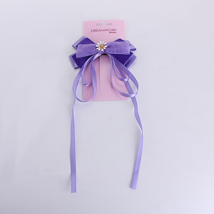 Beautiful purple bow streamer tassel hair clip.jpg