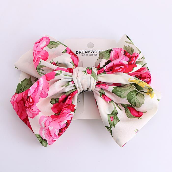 Elegant chiffon fabric print large bow hair clip.jpg
