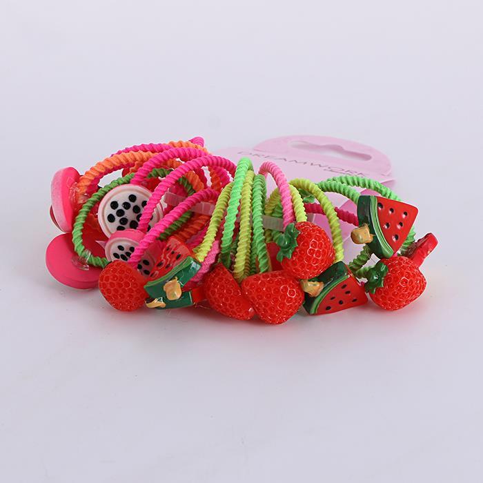 20pcs /Set Cute Fruit Watermelon Strawberry Hair Rope.jpg