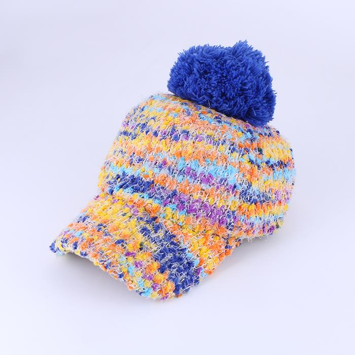 Fashion women's winter colored plush baseball cap .JPG