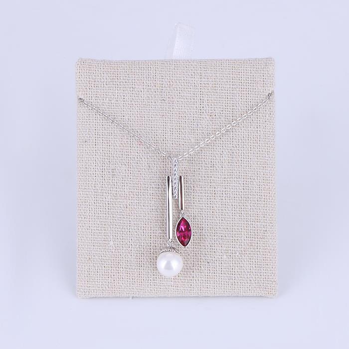 Elegant Pearl Pink Zircon Pendant Necklace Wedding Jewelry .JPG