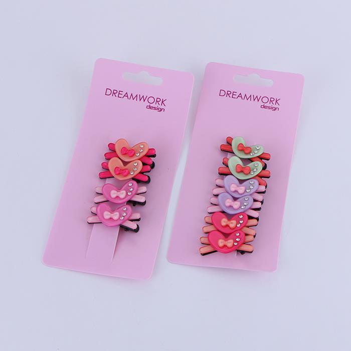 5 pairs of cute shiny heart bow hair clips.JPG