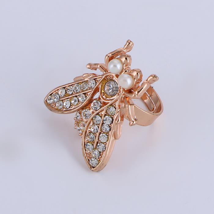 Women's Golden Insect Pattern with Diamond Exaggerated Open Ring.JPG