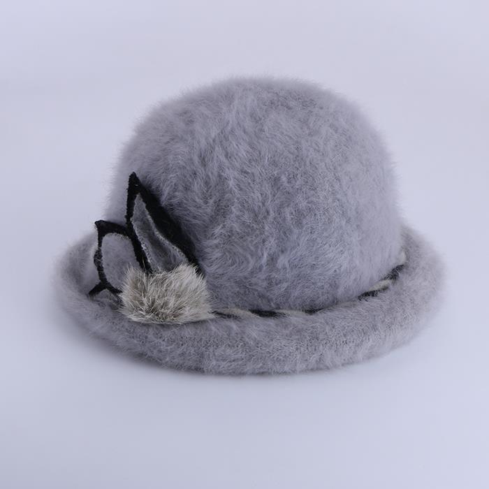 Women's fashion curling rabbit fur warm hat.JPG